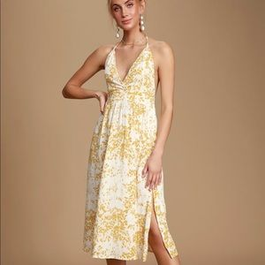 Andre Mustard Yellow Floral Print Halter Dress